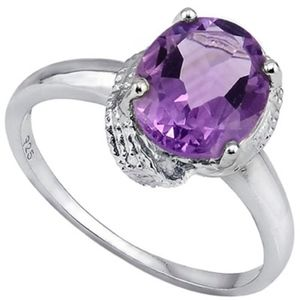 Ring 2.55 Ct Amethyst & Diamond Sterling Silver